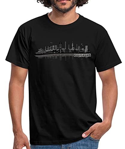 Duisburg Skyline Stadt Silhouette Männer T-Shirt, XL, Schwarz