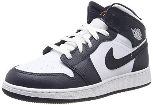 Nike AIR Jordan 1 MID (GS) Basketballschuhe, Weiß (White/MTLC Gold/Obsidian 174), 37.5 EU