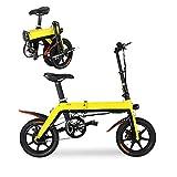 Hxl Bicicletta Elettrica Pieghevole con Sedile Regolabile a Pedale Motore da 250 W Batteria al Litio Rimovibile (36 V 5 Ah / 8 Ah / 10,4 Ah) velocità Massima 25 Km/H,Giallo,5AH 30KM