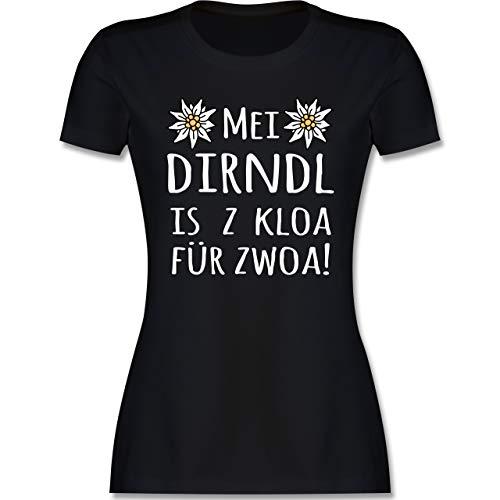 Oktoberfest & Wiesn Damen - MEI Dirndl is z kloa für zwoa! weiß - S - Schwarz - MEI Dirndl is z kloa für zwoa Shirt - L191 - Tailliertes Tshirt für Damen und Frauen T-Shirt