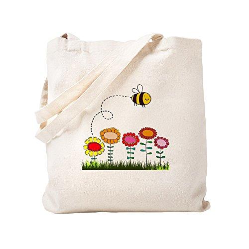 CafePress Duschvorhang–Das Biene & Blumen, Garten–Canvas-Tasche, Tuch, mit Tasche, canvas, khaki, S