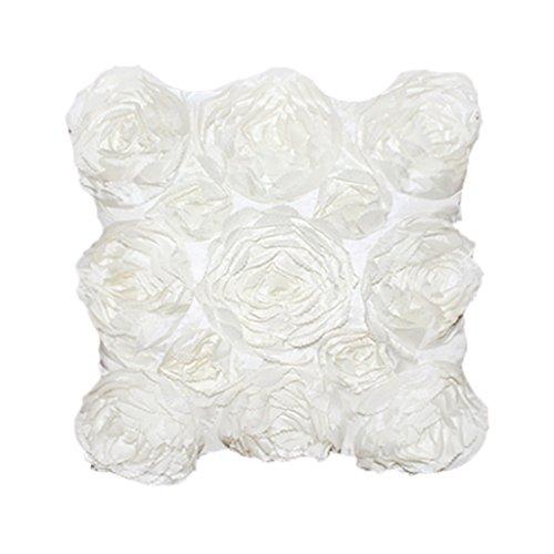 MagiDeal Blumen-Design Kissenbezug Leinenwurf Sofakissen Fall Bett Dekor Dunkelrosa - Weiß