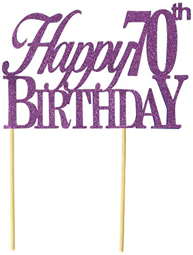 All About Details Purple Happy-70th-birthday Cake Topper, 6 x 8