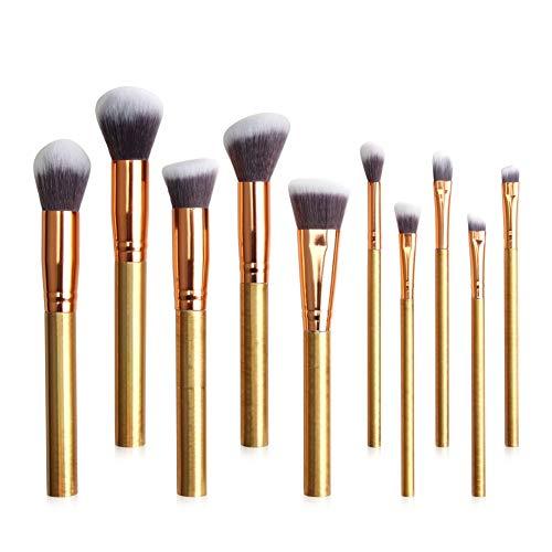 Pinceaux de maquillage de couleur, Shouhengda 10Pcs Pinceaux de maquillage professionnel avec poignée de couleur pour le fond de teint Eyeliner Foundation Blush Lip Cosmetic Brush Kit