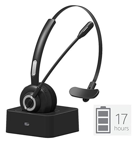 Golvery Bluetooth Office Headset with Boom Mic, Wireless CVC6.0 Noice Cancelling Headset with Charging Cradle, Supports Mute Function, Multi Point, 17 Hours Talking Time for PC Skype Cell Phone