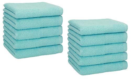 Betz Lot de 10 Serviettes débarbouillettes lavettes Taille 30x30 cm en 100% Coton Premium (Turquoise)