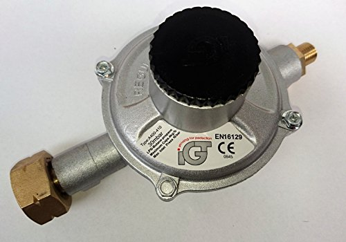 IGT IGT4KG/H Propano Gas regulador de presión de alta capacidad 30mbar, 4kg/h Botella Conector y 1/4pulgadas rosca izquierda salida