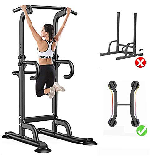 GREARDEN Power Tower Dip Station Pull Up Bar Exercise Tower Adjustable Pull Up Station Pull Up Tower Bar for Home Gym Multi-Function Strength Training Fitness Equipment 330LBS