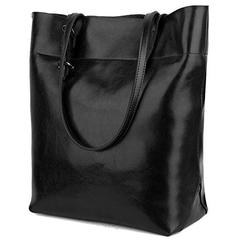 Handtasche Damen YALUXE Echtleder Tasche Umhängetasche Schulter Verstellbare Träger Große Compartent Passt 13 Zoll Laptop Schwarz