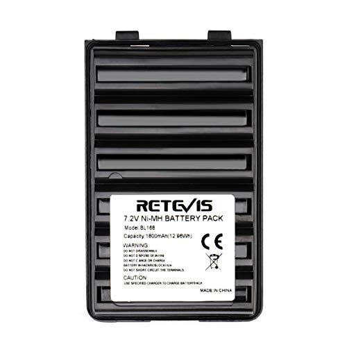 Retevis BL168 Ni-MH Batería 7.2V 1800mAh Compatible con Walkie Talkie Vertex VX-168 VX-160 VX-418 VX-428 VX-210A VX-218 VX-400 YAESU FT-60R VX-177 VX-170 (Negro,1 Pcs)