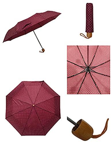 Thomas Calvi Paraguas manual pequeño con estuche, diseño compacto y portátil ligero, perfecto para sombrilla al aire libre, sol, lluvia, viajes y picnic (Lunares Granate)