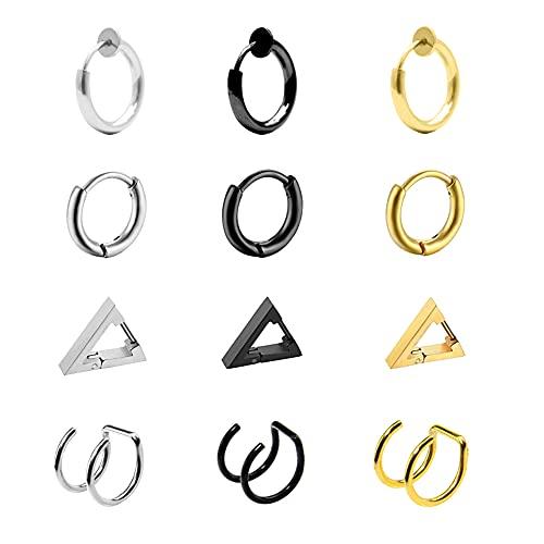 Flechazo 12 Piezas Triángulo Hombre Pendientes Acero Quirúrgico Aros Pendientes para Hombres Mujeres Ear Cuff Falso Piercing Oreja Anillo Joyería Set