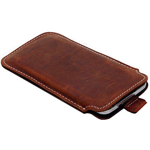 andyhandyshop Echt Ledertasche für Huawei P40 Pro Pro+ Smartphone Wallet Slim Case Etui Schutzhülle Rausziehband Braun