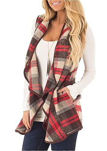 Unidear Womens Casual Turn Down Collar Autumn Buffalo Plaid Open Front Cardigan Shawl Vest Coat Light Red XL