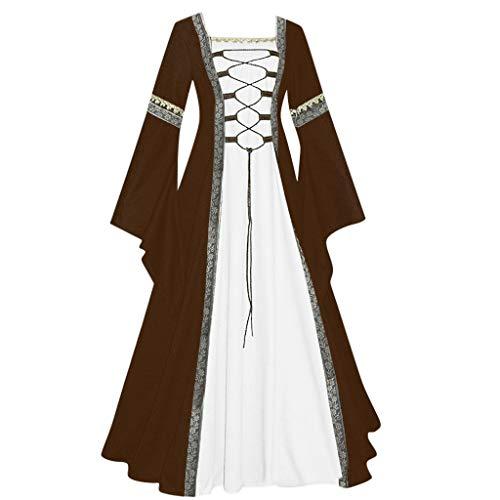 NHNKB Disfraz medieval para mujer, corsé de terciopelo para Halloween, carnaval, fiesta temática, bruja, vampiro, gótico, cosplay, color caqui