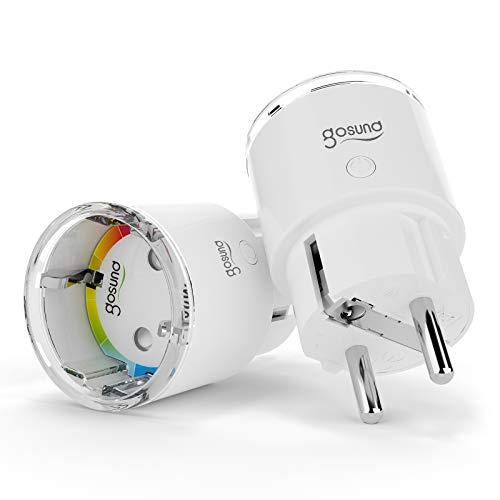 Gosund WLAN Smart Steckdose EP2, Kleinste Amazon Alexa Steckdosen Zubehör mit APP-Steuerung, Smart Plugs mit Stromverbrauch messen Timer Funktion, Kompatibel mit Alexa Google Home, 2 Packs(Nur 2.4GHz)