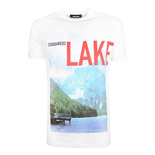 Dsquared DSQ DS2 Mens Herren Tee T-Shirt Lake S71GD0548 S22844 Weiss Crew-Neck (M)