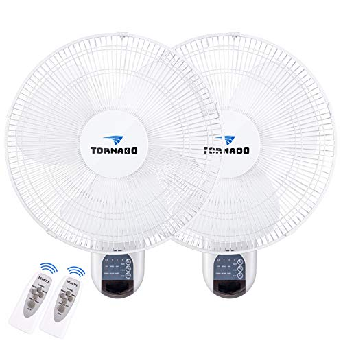 2 Pack - Tornado 16 Inch Digital Wall Mount Fan - Remote Control Included - 3 Speed Settings - 3 Oscillating Settings - 65 Inches Cord - UL Listed