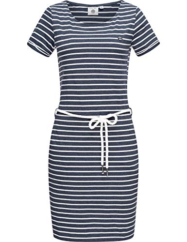 Peak Time Damen Jersey Sommerkleid Strandkleid L80022 Blue Melange Stripes Gr. L