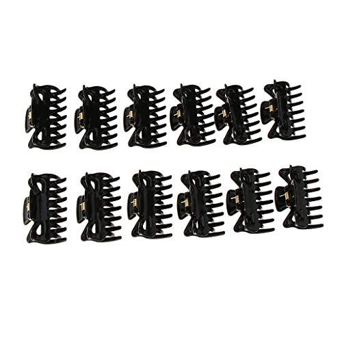 B Baosity 12 Pièces Pince à Cheveux Griffe à Cheveux Clip Barette à Cheveux de Mode pour Femme - Noir