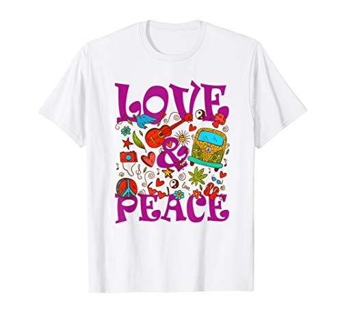 Hippie Kostüm Flower Power Love Peace 60er 70er Retro T-Shirt