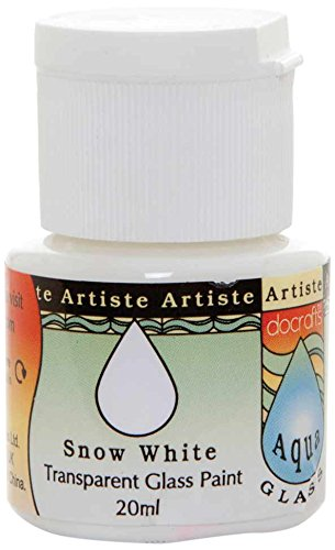 Artiste - Flacone di Vernice per Vetro, Trasparente, 20 ml, Serie Aquaglass, Colore: Bianco Neve