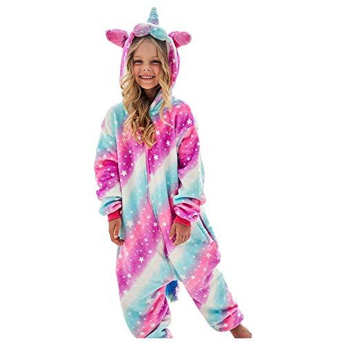 DRESHOW Weiche Mädchen Einhorn Bademantel Nachtwäsche Komfortable Onesie Tier Schlafanzug Pyjamas Kostüm für Kinder