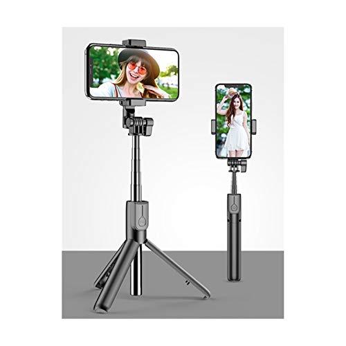 JIANGQIAO Trípode inalámbrico Bluetooth para selfies con anillo de luz LED, plegable, monopié de mano, con obturador y control remoto (color: negro, sin luz)