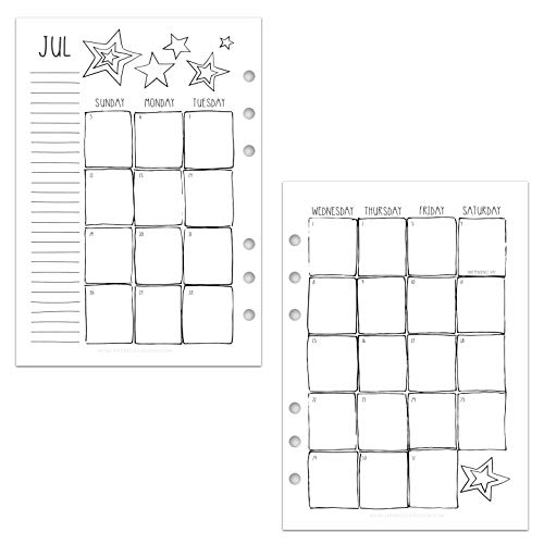 July 2020 - June 2021 Academic Monthly Calendar for A5 Planners, fits Filofax, Kikki K, Carpe Diem Planners, 6 Ring binder, 5.8' x 8.3' Creative (Planner Not Included)