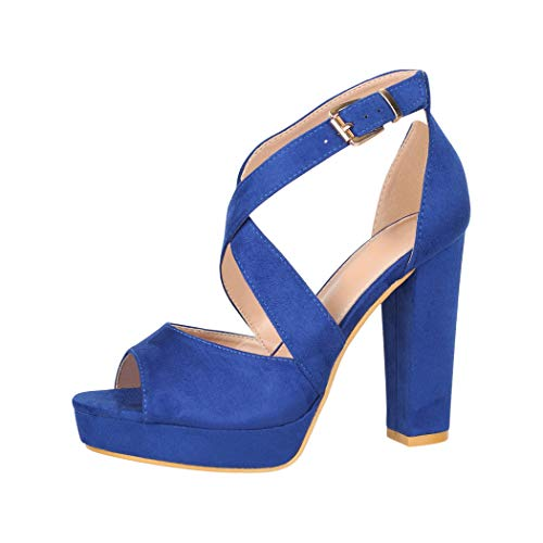 Elara Damen Pumps High Heels Chunkyrayan B-88 Blue-40