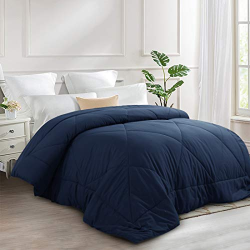 INGALIK All-Season Bed Comforter Best Soft Down Alternative Quilted Comforter with Corner Ties - Summer Cool- Machine Washable (Navy Blue, Queen(88×88inch))
