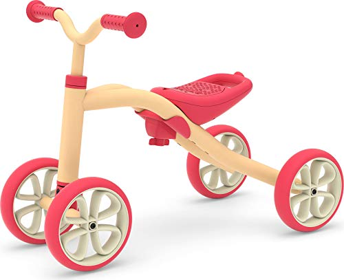 Chillafish Quadie Stable 4-Wheel Grow-with-me Ride-on with Adjustable seat Height, for Kids 1-3 Year, Cookie Storage in The seat, Silent Non-Marking Wheels and customisation Stickers, Peach