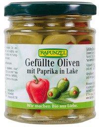 Rapunzel Oliven, grün gefüllt mit Paprika in Lake, 4er Pack (4 x 190g) - BIO