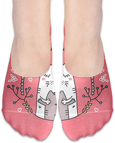 not applicable No Show Socken, Cartoon-Katze Mama und Baby-beiläufige unsichtbare Flache Socken, atmungsaktiv Anti-Geruch Low Cut Women Cotton Sox, Anti-Rutsch-Liner Socke