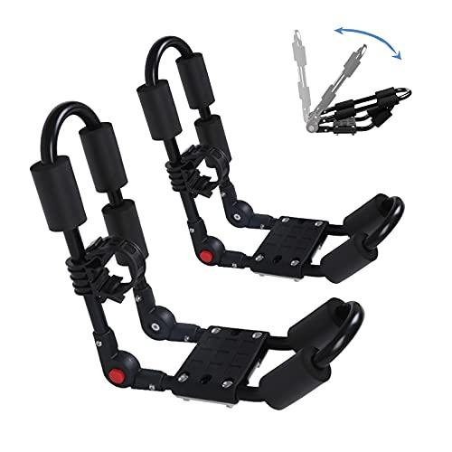 ZOVOTA Foldable Kayak Rack J-Bar Roof Rack Sets Adjustable J-Style Kayak Carrier for Car SUV Roof Top (Black)