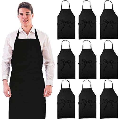 Wealuxe 12-Pack Professional Bib Aprons | No Pocket | 32x28 Inch | Black | Set of 12