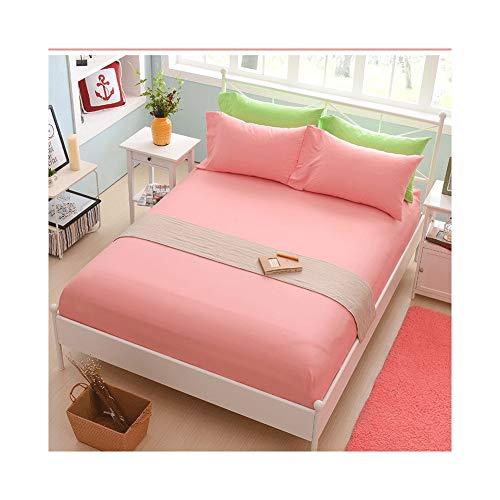 MZP 100% Algodón Sábana Bajera Ajustable Transpirable Suave y Cómoda sábanas bajeras para Colchones de hasta 28cm de Altura Banda Elástica Circular (Color : Pink A, Size : 180x200cm)
