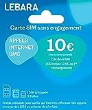 Carte Sim prépayée Lebara incluant 7,50E de crédit (5E + 2,50E offerts) – Appels, SMS et internet en France et à l'international à prix réduits.
