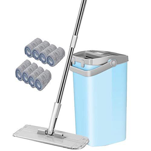 CHEIRS flach-mopp Eimer Set Touchless Mop Bodenwischer Mit Sprühfunktion-Free Handwäsche Flat Mop Teleskopstange Microfaser -Mop Set,8pcs