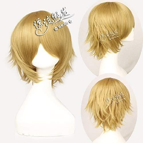 Danganronpa Togami Byakuya Cosplay peluca Anime Dangan Ronpa cosplay corto amarillo pelo sinttico pelucas universales + gorro de pelucaDanganRonpapelucaFQ001A-3