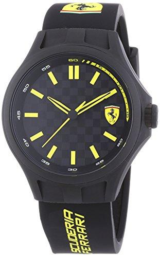 Scuderia Ferrari Watches Pit Crew - Reloj, con Correa de Acero Inoxidable, de Color Negro