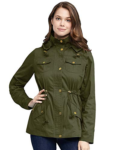 Come Together California WJC643 Womens Pop of Color Parka Jacket L Olive
