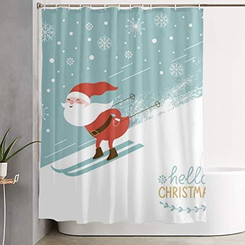 PbbrTK Personalisierter Duschvorhang,Santa Skifahren einen Berg hinunter,wasserabweisender Badvorhang für das Badezimmer 180 x 210 cm