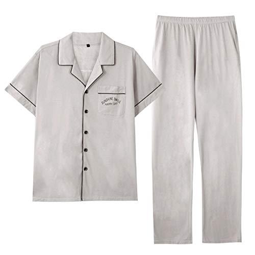 GOSO Pijama para Hombre Conjunto de algodón con Botones Ropa de Dormir Manga Larga/Corta Top con Pantalones Largos Suave Cómodo Ropa de Dormir