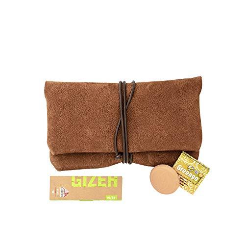 Blague à Tabac COMARI en Cuir Sauvage| Compartiment à Feuilles et Filtre séparé | Paquet de Feuilles Gizeh et humidificateur de Tabac gratuits (Marron Cognac)