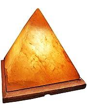 مصباح ملح الهيمالايا على شكل هرم، مؤين من الكريستال الطبيعي، قاعدة خشبية، سلك كهربائي ومصباح من بينك سالت وورلد