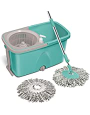 Spotzero By Milton Classic Mop with Wheels (Aqua Green, 2 Refills)