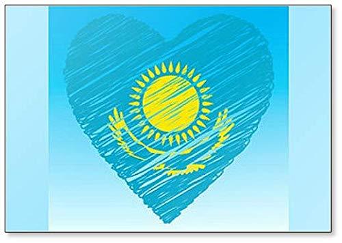 Kazachstan vlag, hart vorm, Grunge stijl Koelkast magneet