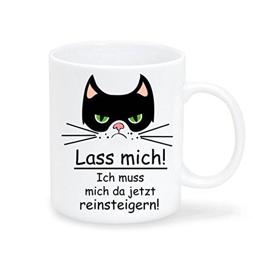 Wandtattoo-Loft Keramik Tasse Katze mit Spruch Lass Mich! Ich muss Mich da jetzt Reinsteigern! - Spülmaschinenfest