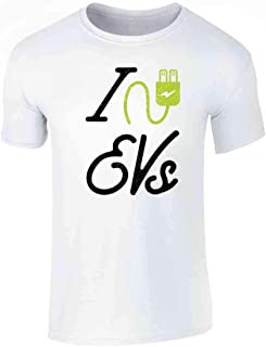 I Love EVs Electric Vehicles Graphic Tee T-Shirt for Men